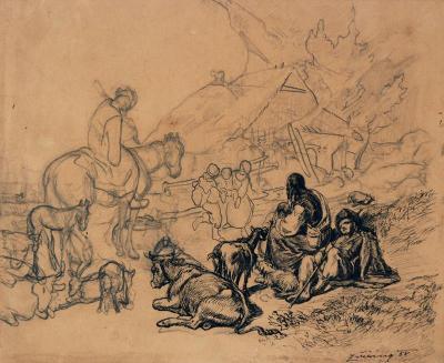 Kresba: Rusínská idyla - František Zvěřina (1858) Zdroj: Webumenia.sk