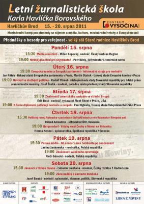 Program Letní žurnalistické školy Karla Havlíčka Borovského 2011