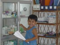 Dieťa v ambulancii v detskom domove House of Family (Kambodža)