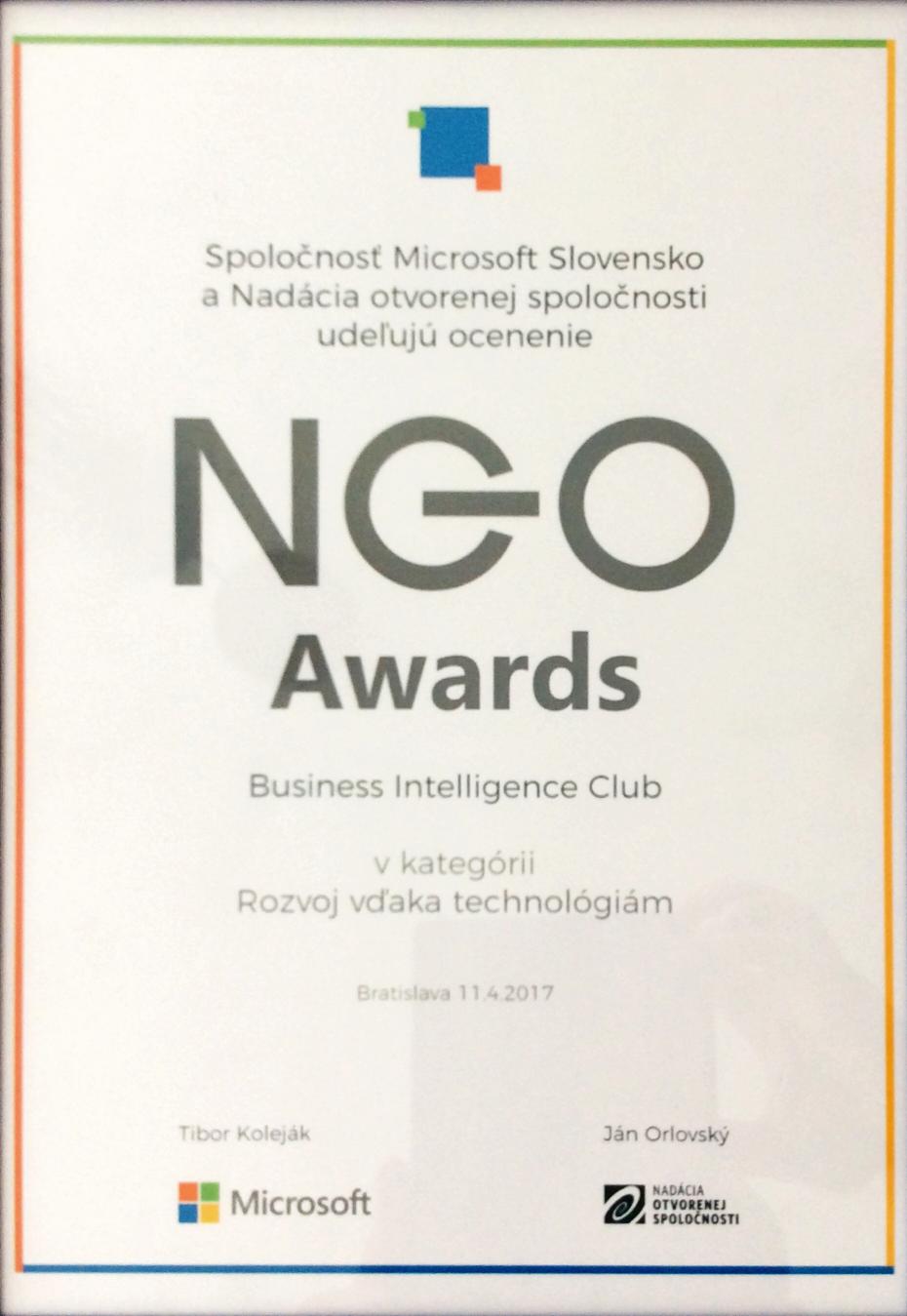 Business Intelligence Club, o. z. získal ocenie NGO Awards 2017 za technológie využívané pre Prohuman, Prosurvey, Projustice